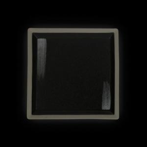 Тарелка квадратная 200 мм черная с белым Сorone Rustico