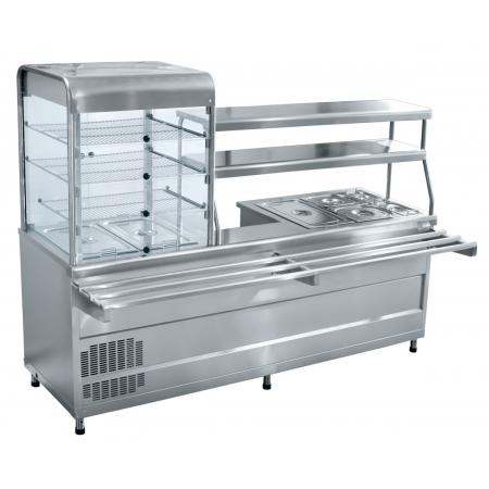 Мини-линия раздачи Аста ПВХМ-70КМУ (Прилавок-витрина холодильный мармитный универсальный)