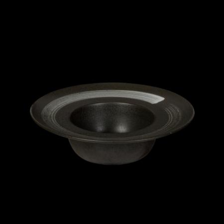 Тарелка для пасты 230 мм черная с белым Сorone Rustico
